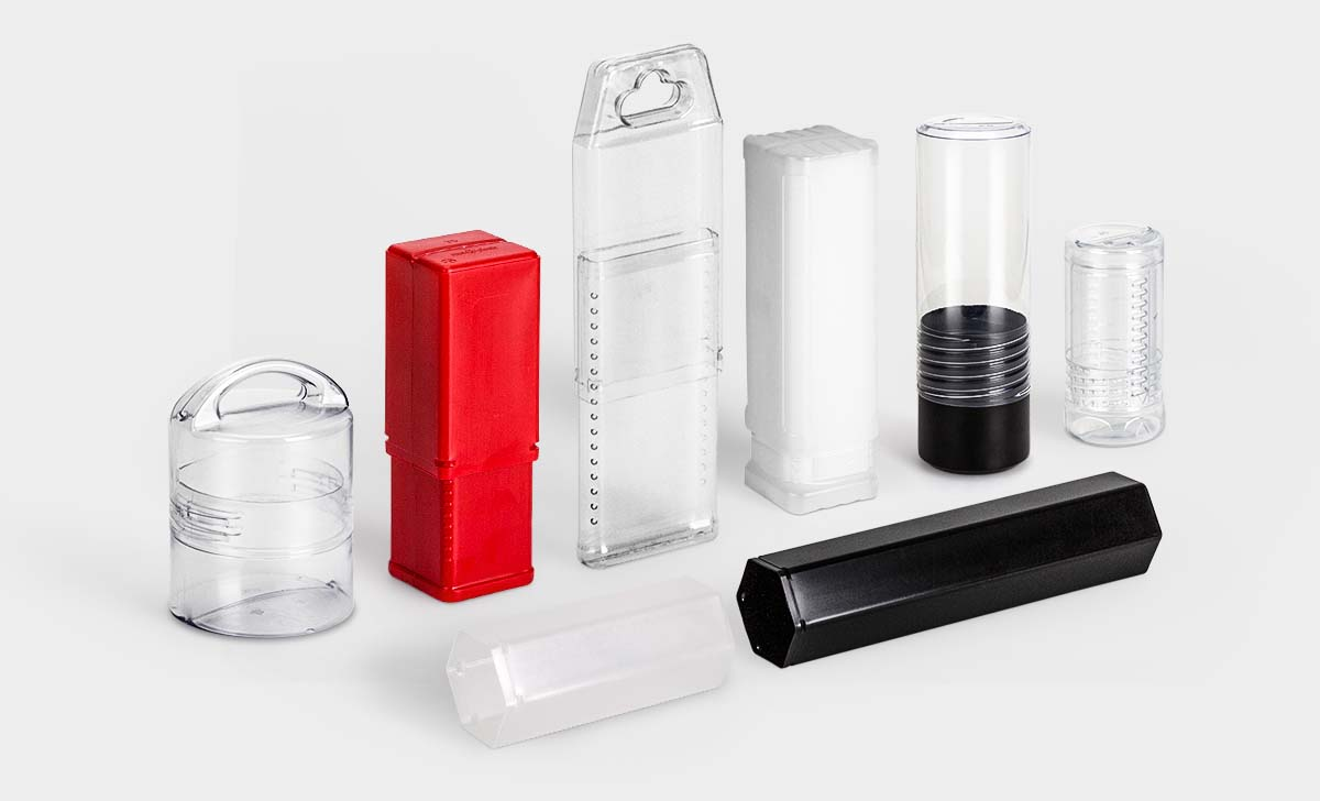 A selection of rose plastic plastic packaging tubes